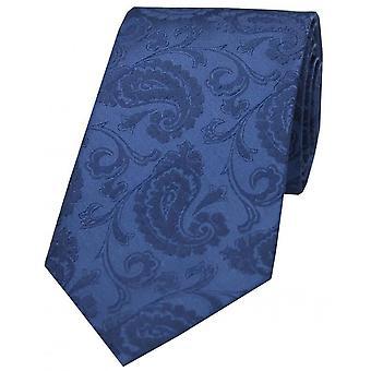 David Van Hagen Luxus Paisley Krawatte - Denim Blue