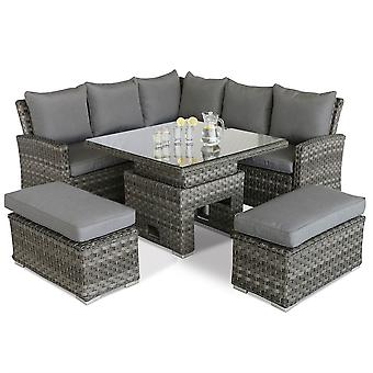 Maze Rattan Victoria Casual Corner Dining Bench Set with Rising Table