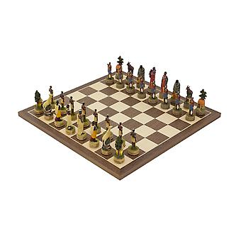 The Masai hand painted themed Chess set by Italfama