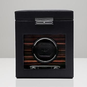 Wolf Designs Roadster Black Leather & Wood Single Watch Winder 2.7 With Storage