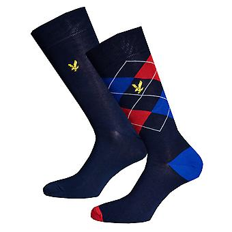Mens Lyle And Scott Hewie 2 Pack Argyle Socks In Navy- Two Pairs Navy - Argyle