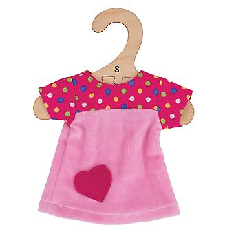 Bigjigs Toys rosa Kleid mit Flecken (28cm) Kleidung Outfit Dress Up Doll