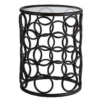 FusionE Vivente Black Metal Circles Side Table con Piano vetro