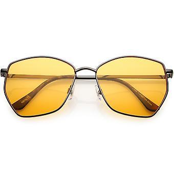 Classic Geometric Angled Color Lens Aviator Sunglasses