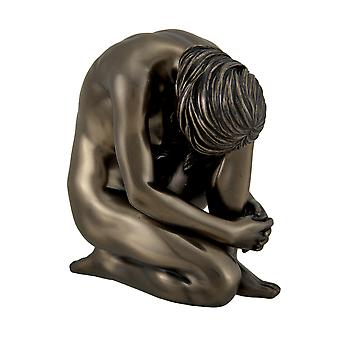 Bronze Finish Nude Kneeling Female Statue 4 1/4 Inches Tall