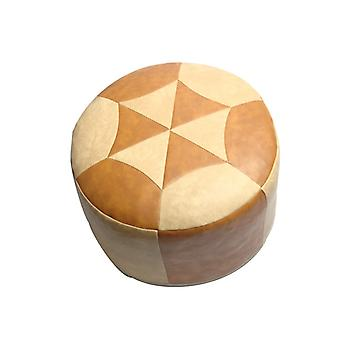 Seat cushion Pouffe Oriental pillow around faux leather Brown/light beige, width 50 cm, height 34 cm