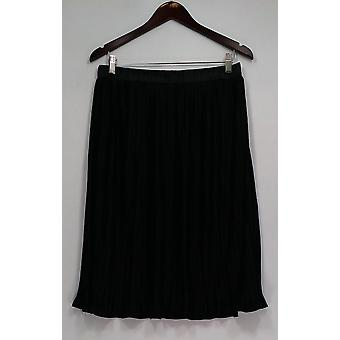 Dennis Basso Skirt Pull On Stretch Waist Solid Pleated Black A301470