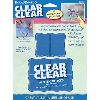 Inkadinkado Clear On Clear Acrylic Blocks 2 Pkg Small 2.25