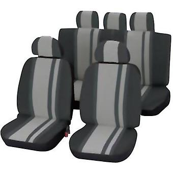 Seat covers 14-piece Unitec 84957 Newline Polyester Black, Grey