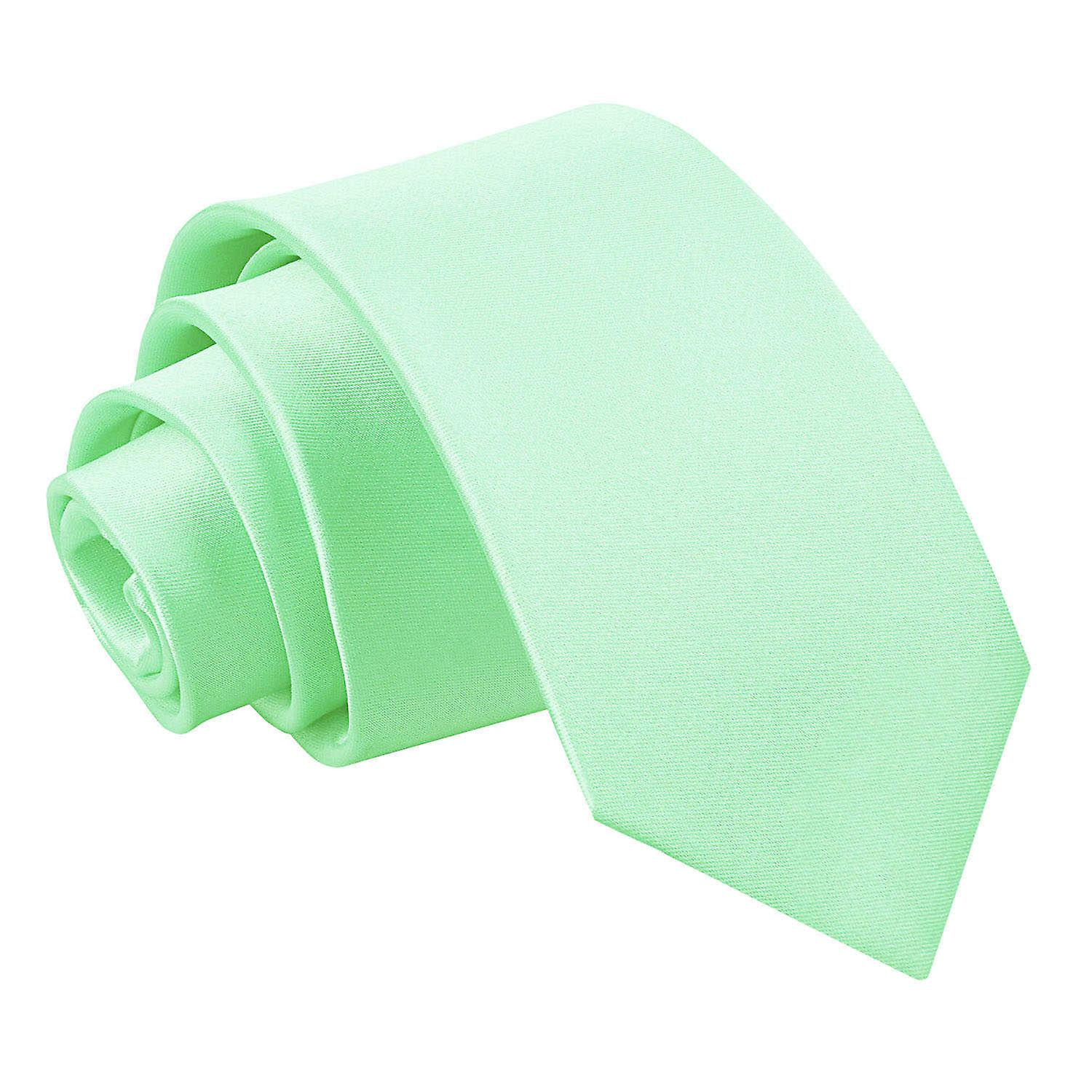 Plain Mint Green Satin Slim Tie