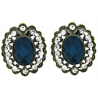 Clip On Earrings Store Large Antique Gold Filigree & Teal Blue Oval Facet Crystal
