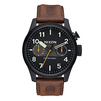 Nixon The Safari Deluxe Leather Black / Lum / Brown (A9772344)