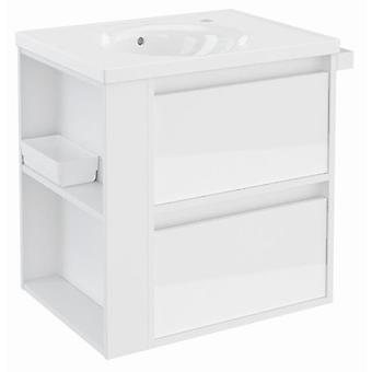 Bath+ Cabinet 2 Drawers With White Porcelain Sink Gloss White 60