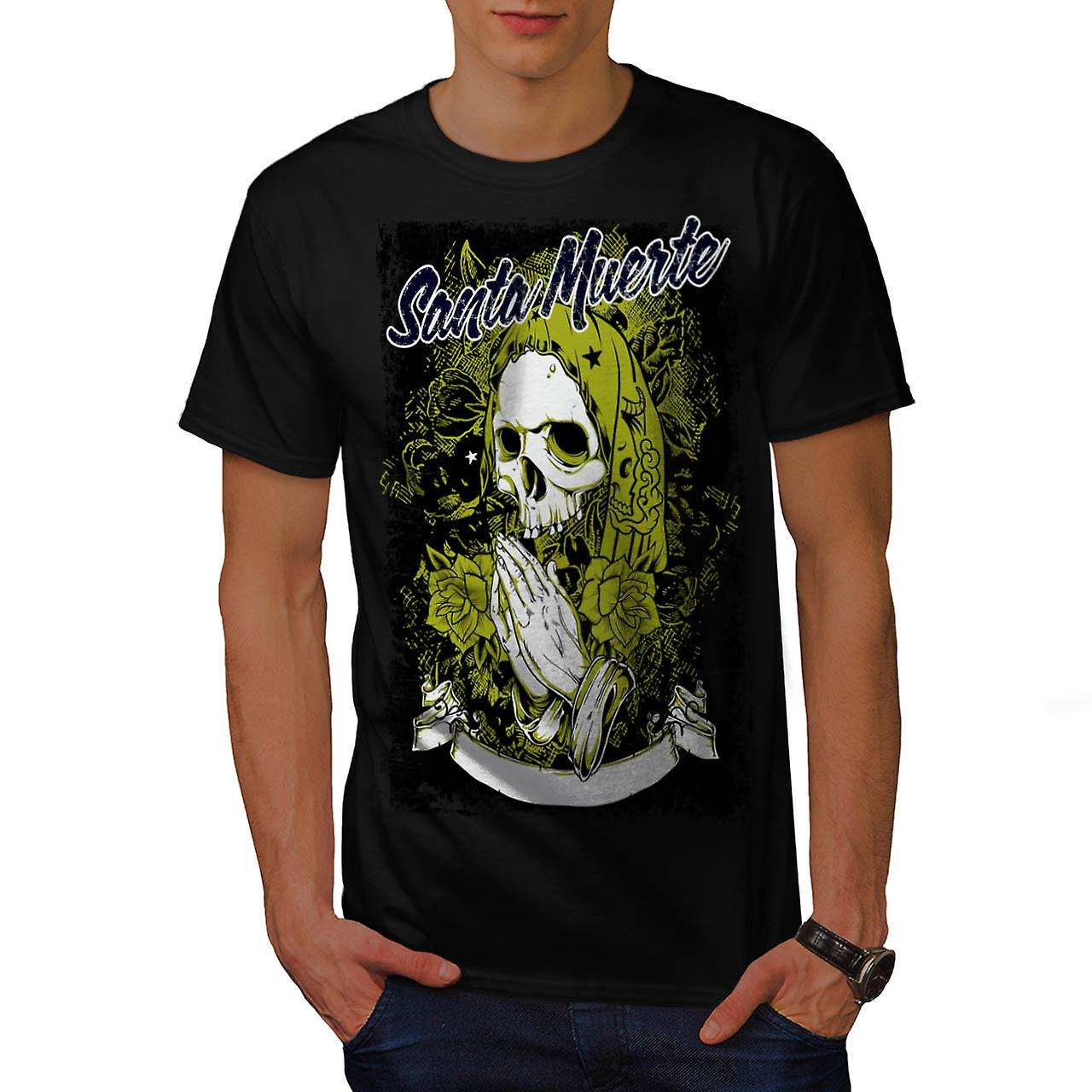Santa Muerte Skull Death Rage Men Black T-shirt | Wellcoda