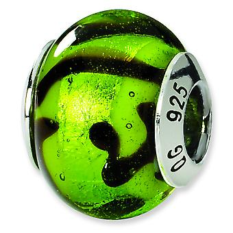 Sterling Silver Polished Antique finish Italian Murano Glass Reflections Green Black Italian Murano Bead Charm
