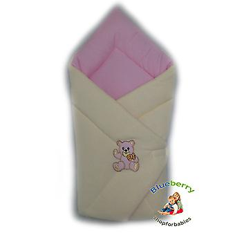 BlueberryShop Warm Thermo Terry Swaddle Wrap Blanket Sleeping Bag for Newborn, baby shower GIFT 100% Cotton, 0-3m