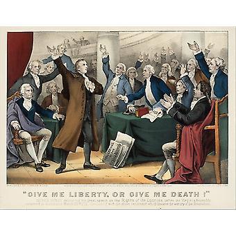 Giv mig frihed eller Giv mig døden Patrick Henry levere sin store tale om rettigheder af kolonier plakat Print (8 x 10)