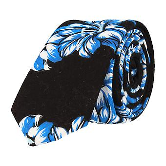 Mr. icone narrow tie Cubkrawatte big flower floral black