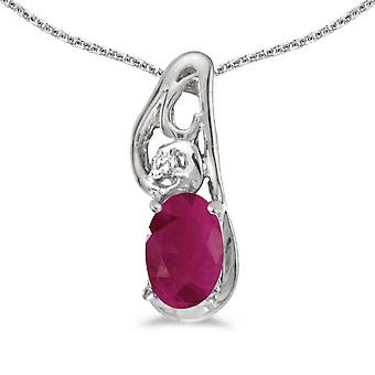 10k White Gold Oval Ruby And Diamond Pendant with 16