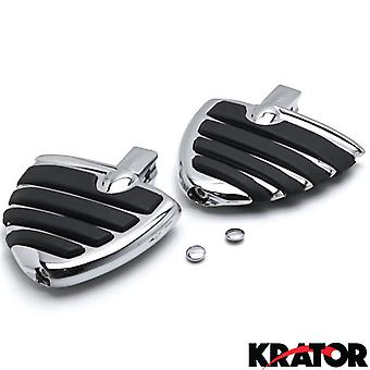 Chrome Motorcycle Wing Foot Pegs Footrests L+R For Kawasaki Vulcan 1700 Classic LT Vaquero 09-13 Rear