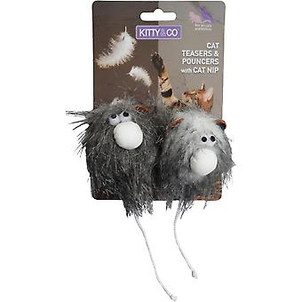 Kitty & Co Cat Toy Hairy Face Balls 2 Pack (Pack of 3)