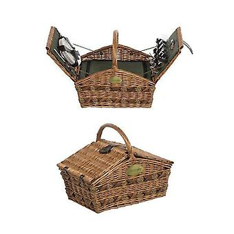 4 Person Fitted Lifestyle Double Lidded Green Picnic Basket