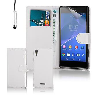 Book wallet PU leather case cover for Sony Xperia T3 + stylus - White