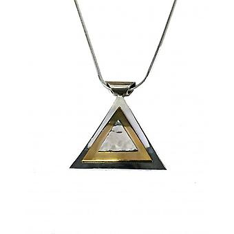 Cavendish French Silver Golden Pyramid Pendant with a 16-18