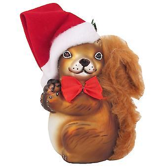 Wiewiórka w Santa Hat Christmas Holiday szkło Ornament