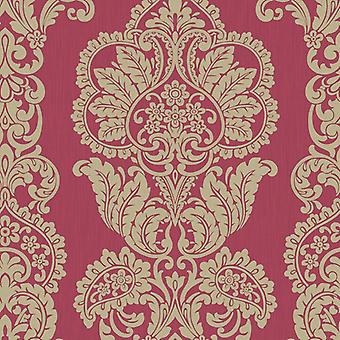 Fine Decor Rochester Damask Tattoo red Gold Glitter shimmer Wallpaper
