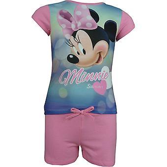 Girls Disney Minnie Mouse 2 Piece Set Short Sleeve T-Shirt and Shorts