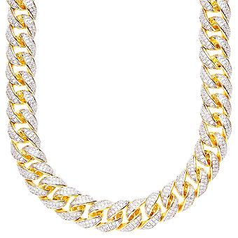 Sterling 925 Silver CZ bling chain - MIAMI CURB 12mm gold