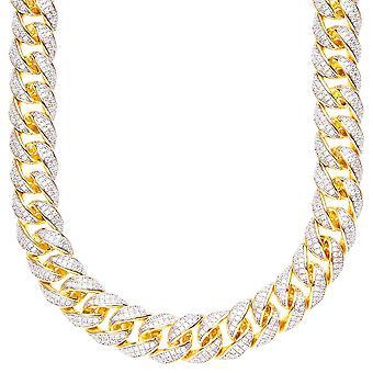 Cadena bling de CZ de plata esterlina 925 - MIAMI acera oro 12mm