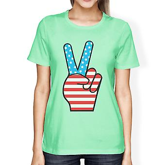 American Flag Unique Peace Sign Independence Day T Shirt For Women