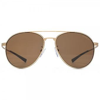 Police Round Aviator Sunglasses In Matte Rose Gold Brown Polarised