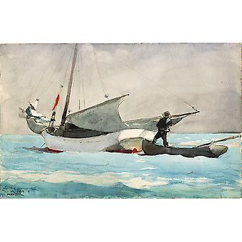 Winslow Homer - Stowing Sail Poster Print Giclee