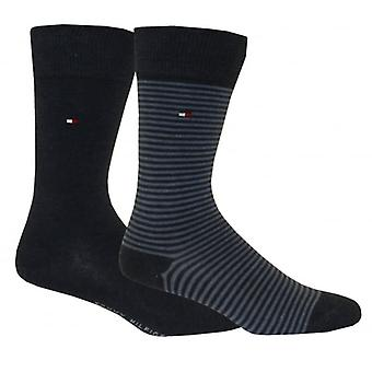 Tommy Hilfiger 2-Pack Small Stripe & Solid Socks, Blue