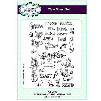 Expressions créatives, inspirant des mots religieux journalisation 28 Clear Stamp Set