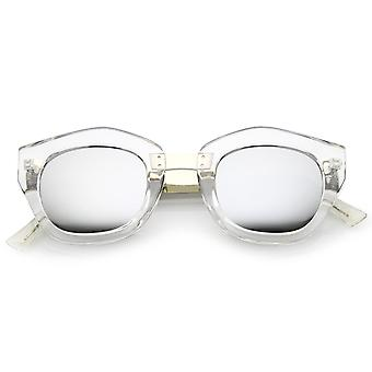 Women's Metal Bridge Colored Mirror Lens Square Cat Eye Sunglasses 46mm (Clear-Silver / Silver Mirror)