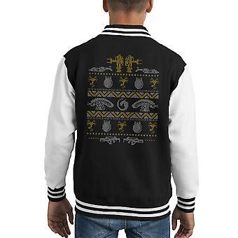 Aliens Christmas Knit Pattern Kid's Varsity Jacket