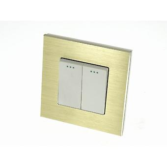 I LumoS Luxury Gold Brushed Aluminium Frame 2 Gang 2 Way Rocker Wall Light Switches