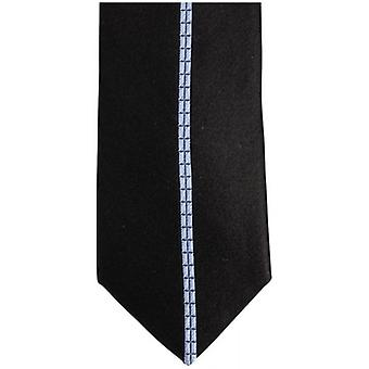 Knightsbridge Neckwear Single Striped Silk Skinny Tie - Black/Blue