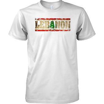 Efecto bandera de Líbano Grunge país nombre - niños T Shirt