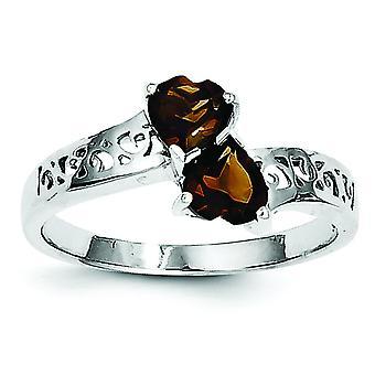 Sterling Silber Rhodium Smokey Quarz Herz Ring - Ring-Größe: 6 bis 8