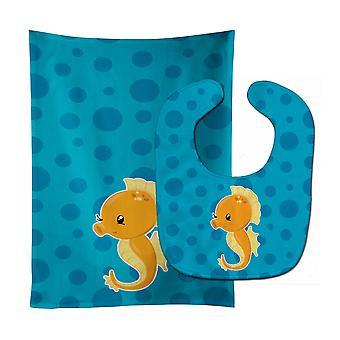 Tesoros de Carolines BB8895STBU babero del bebé del Seahorse náutica y paño del Burp