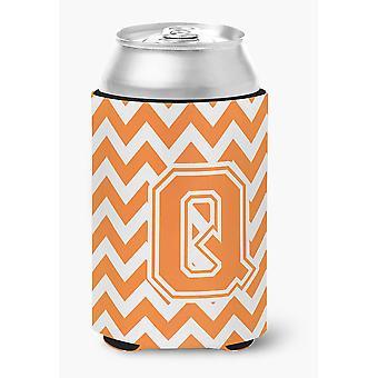 Letter Q Chevron Orange and White Can or Bottle Hugger