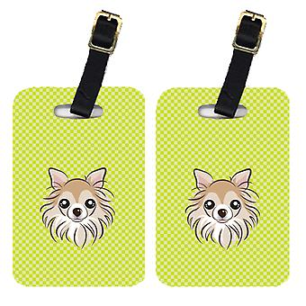 Pair of Checkerboard Lime Green Chihuahua Luggage Tags