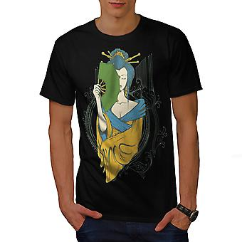 Girl Asia Japan Men BlackT-shirt | Wellcoda