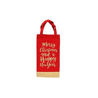 (CGB) Giftware kerst Merry Christmas Happy New Year fles zak