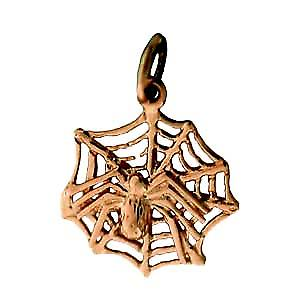 9ct Gold 17x16mm Spider on Webb Pendant or Charm